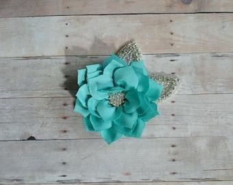 Aqua Flower Hairclip Flower Girl Hairclip, Wedding Clip, Bridal Hairclip, Rhinestone, Fascinator Bridesmaid Bridal Shower Baby