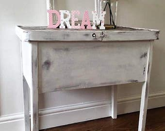 Vintage hand painted shabby chic sewing box