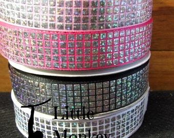 Disco ball, Laser foil, Grosgrain Ribbon, 7/8 inch ribbon,
