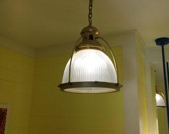 Antique Brass Holophane Pendant Lamp