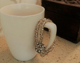 Gray Bead Bracelet with Diamond Cluster Ball
