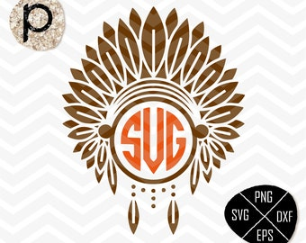 Apache Red Indians SVG*Headdress Monogram*Indian SVG*Apache native SVG*svg,clipart,eps,dxf,png,jpg*Cutting File*Cricut*Silhouette*Sure Cuts