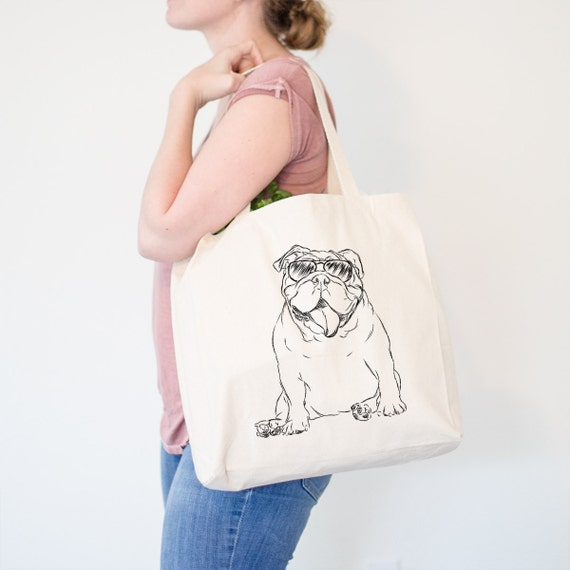 Too Cool English Bulldog Tote Bag - English Bulldog Gift, Funny Gift, Cute Holiday Gift, Dog Lover Gift, Gifts for Him, Husband Gift