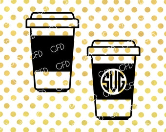 Coffee to go Monogram Frame SVG, Coffee Cups SVG, Coffee SVG, Coffee Cups Digital Cut File, Instant Download, Svg, Dxf, Jpg, Eps, Png