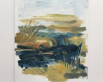 Original oil sketch, Maine Marsh, Landscape Painting