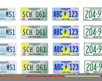 scale model car  Mississippi license tag plates