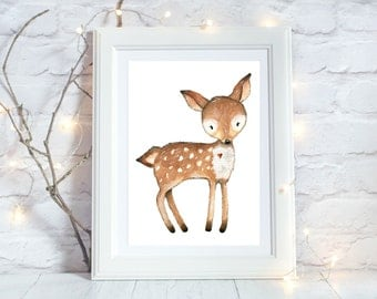 Woodland Nursery Decor, Deer Printable, Deer Nursery Decor, Deer Print, Woodland Nursery Wall Art, Baby Room Wall Art, Instant Download