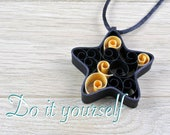 Kit DIY pendant in black shape paper star. Kit of quilling for beginner, child or adult, rolled paper, color choice.