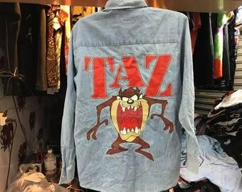 Vintage 1992 Tasmanian Devil Denim Shirt Mens Size L Free Shipping Looney Tunes