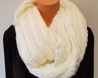 White Hand Knit Infinity Scarf