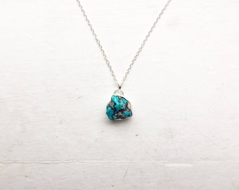 "Zuri: Natural Nevada turquoise nugget with quartz inclusions set in fine and sterling silver on a 24"" sterling silver chain"