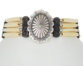 Silver Concho Tribal Bone Choker Necklace