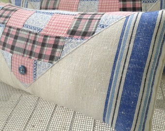 Mad About PLAID QUILTED PILLOW,Blue Linen Towel,Pink Antique Quilt, Stuffed Linen, Lumbar Pillow, Ooak, Cottage, Country, Housewarming Gifts