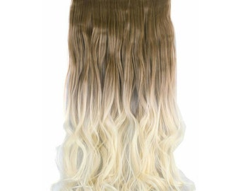 "Ombre Hair Extensions 3/4 Full Head Brown Blonde Clip In Hair Extensions 24"" Long Straight Wavy Curly Hair Weave Extensions #001C"