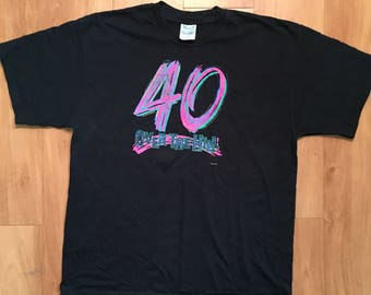 Birthday 40 year old Over The Hill T-Shirt Size XL black Shirt Funny Throwback Happy Bday Gag Gift