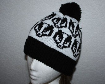 Black and White pompom beanie hat with Badger Heads
