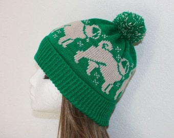Emerald Green with Beige Pug dogs with or without pompom beanie hat