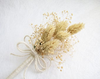 Cottage Boutonniere, Dried Flower Corsage, Ivory Flower Boutonniere, Dried Flower Boutonniere, Rustic Wedding Decor, Rustic Dried Flower