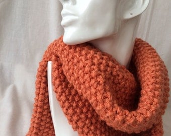 Peach Winter Hand Knitted Scarf