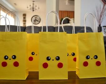 POKEMON PIKACHU FAVOR Bags - Set of 12 Pokemon Inspire Favor Loot Bag, Pokemon Party,  Pokemon Birthday, Pokemon Go favors, Pokemon gift bag