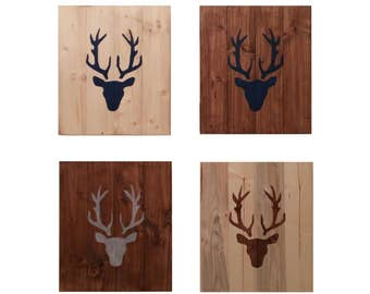 Four Deer Heads on Wood, cervid, roe deer, wall decoration, panache, gift idea, animal, desing, inspiration, decor, interior, home, style,