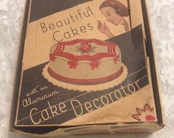 1940s Vintage Beautiful Cakes With Aluminum Cake Decorator Kitchen Decor Retro 40s Decorating Pastry Kitsch Kitschy
