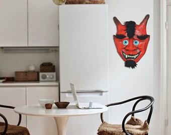 Demon mask, paper mache, dimoni, Barcelona, catalan folk, correfoc, ready to hang, home decor, handmade, folk, art wall, mixed media