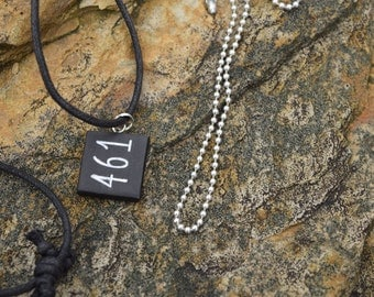 BMX Motocross Number Stamped Pendant Necklace