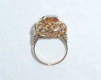 Estate 14kt Gold Vintage Genuine Citrine Ring sz 8.5 Cocktail or Dinner Ring 4.4g Lattice Swirl Square Gemstone sz 8-1/2 Marked 14k 14 k kt