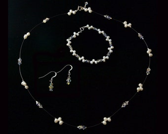 Clear Swarovski Crystal and White Freshwater Pearl Bridesmaid Set