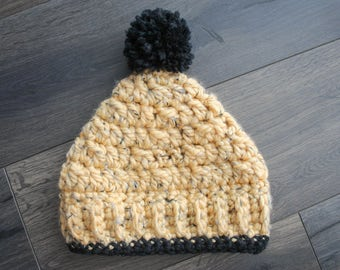 Winter Hat, Slouchy Hat, Knit Hat, Slouchy Beanie, Hat, Pom Pom Hat, Crochet Hat, Pom Pom Beanie, Crochet Winter Hat, Crochet Beanie, Yellow