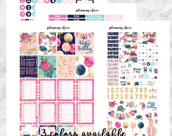 Girl's Birthday printable planner stickers /EC vertical weekly kit / ECLP / pdf, jpg, cut files