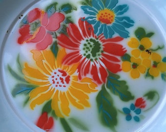 Stunning 1950's emamel tray/wall plate