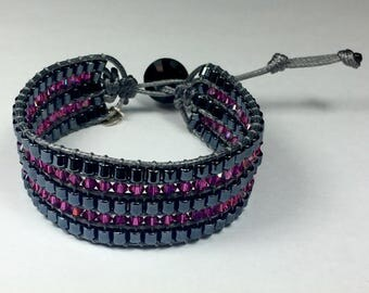 Pink with Miyuki and tops Swarovski Cuff Bracelet anthracite gunmetal