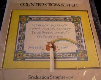 Graduation Sampler Counted Cross Stitch Kit Something Special Counted Cross Stitch by Candamar Designs, unopened