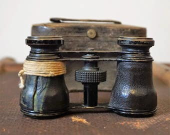 Antique Opera Glasses Binoculars in Original Leather Case