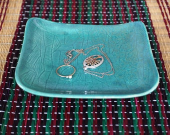 Ceramic Dish with Carved Design, Stoneware Clay, Teal