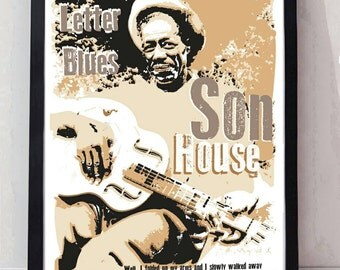 Mississippi blues son house unframed poster. Specially created.