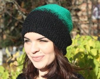 Emerald/black Hat, Beanie Hat, Slouchy Hat, Gradient Beanie, Warm Cozy Hat,Winter Fall Beanie, Mohair Wool, Women Hat, Handknitted Cozy Hat