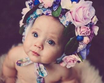 Baby Girls Bonnet, photo prop, floral bonnet, headpiece, photography, photography prop, bonnet, props, newborn, baby,