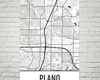 Plano Map, Plano Art, Plano Print, Plano TX Poster, Plano Wall Art, Plano Poster, Plano Texas, Plano Gift, Plano Decor, Plano Map Art, Print
