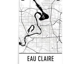 Eau Claire Map, Eau Claire Art, Eau Claire Print, Eau Claire WI Poster, Eau Claire Wall Art, Map of Eau Claire, Eau Claire Gift, Decor, Map