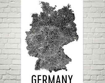 Germany Map, Map of Germany, Germany Print, Germany Wall Art, Germany Poster, German Decor, German Art, German Gifts, German Map Print
