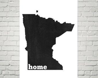 Minnesota Home, Map of Minnesota, Minnesota State, Minnesota Gifts, Minnesota Art, Minnesota Map, Print, Wall Art, Sign, Decor, Poster