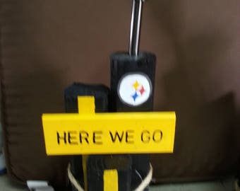 Pittsburgh Steelers Solar light homemade from landscape timbers
