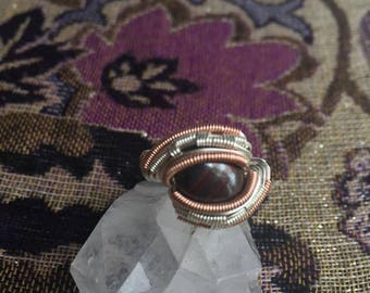 Tiger Iron Wire wrapped ring