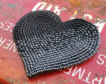 Black Heart Beaded Patch