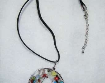 "Tree of Life Pendent,  18"" black suede chain"