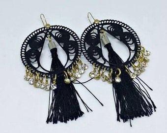 Earrings, Handmade earrings, Black earrings, Tassel earrings, Crystal earrings, Bohemian earrings, Boho jewelry, Large, Party earrings!