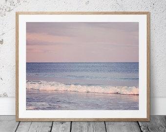 Ocean Photograph, Digital Download, Beach Art, Coastal Photography, Purple Decor